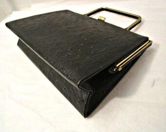 "Ostrich Handbag, Leatherette Ostrich Handbag, Rare Faux Ostrich Purse, Evening ""Ostrich"" Luxury Handbag"