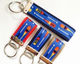 Oar Key FOBS, Royal Blue Oar Ribbon, Crew Keychain, Rowing KeyFob, Boat Keychain, Crew Team Gift, Boating Keychain, Red white and Blue, OAR