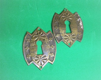 Vintage Hardware Keyholes Antique Escutcheon Plates Architectural Salvage Door Plate Hardware