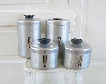 Vintage Canister Set, Mid Century Canister Set, Chrome Canister Set, Metal Canister Set, Retro Canisters, Aluminum Canisters