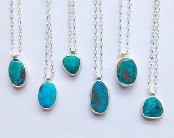 """Simple Turquoise Necklace - December Birthstone Necklace - 18"""" Turquoise Necklace"""