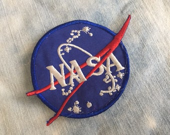 Vintage NASA patch, blue nasa logo patch retro space patch weird nasa vintage patch space patch 80s patch retro atomic astronaut costume