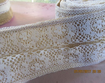 Lace and Burlap,2 7/8 Inch Wide Burlap Ribbon, Serged ,4 yard roll,