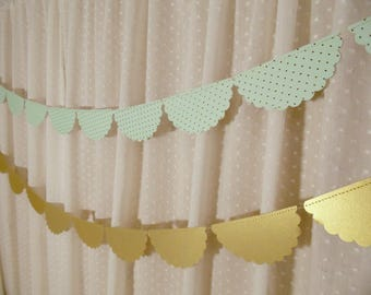 Mint Green Wedding Decor, Scalloped Garland, Mint and  Gold Foil Paper Garland, Bridal Shower Decoration, Wedding Reception