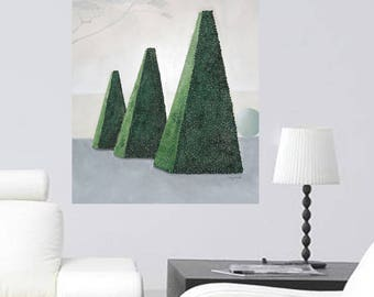 Large Topiary Painting Pyramid Shape Buxus Landscape French Garden Original Textured Wall Art - 50% SALE