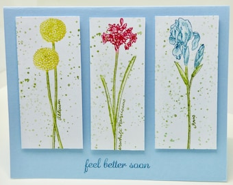 Feel Better Soon Card, Pretty Get Well Soon Card, Encouragement, Floral Get Better Soon, Cheer Up,  Illness,  for Friend, Partner, female