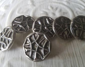 Vintage  Buttons - 6 medium matching, pressed design, silver metal (July 559 17)