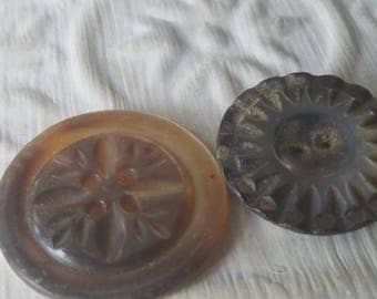 Vintage Buttons - 2 assorted mother of pearl, carved  designs Victorian (July 530 17)