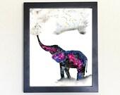 Elephant Spirit Animal Art Print Watercolor 8x10