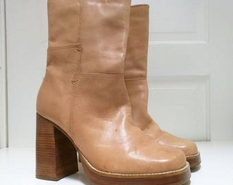 Vintage Light Brown Chunky Platform Ankle Boots Womens 10 Candies 90s