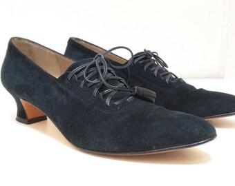 Vintage Salvatore Ferragamo Black Suede Lace Heels Shoes Womens 6.5 AA