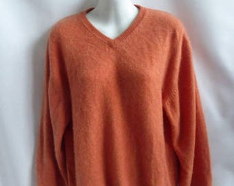 100% Cashmere Sweater Size L Orange Boyfriend V Neck Northern Isles 48 Chest