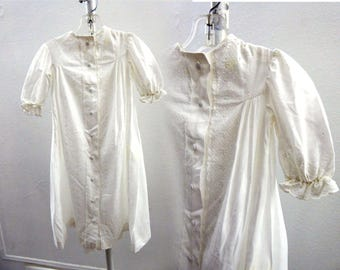 Vintage Christening Gown Dress Victorian Baby Infant Baptism Cotton Eyelet Lace