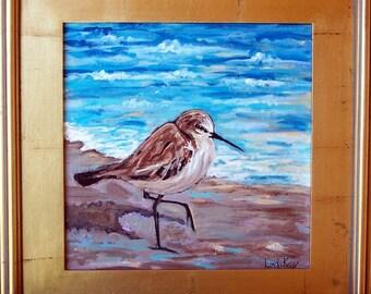 Original Ocean Sandpiper Bird Cruising on the beach Painting,in gold frame/shoreline/pacific ocean/beach bird/linda kelly