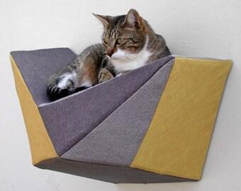 Cat shelf wall bed in mustard, grey & charcoal