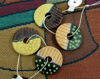 Handmade Pairs of Spirit Hole Ceramic Discs, Hand Painted Each Side, Perfect for Earrings, Necklaces or Bracelets