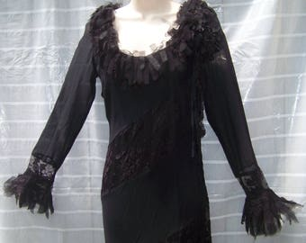 Sue wong silk chiffon bias cut midi dress size 6 black