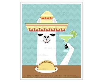60J - Llama Art - Llama Eating Taco and Margarita Wall Art - Bar Art - Tequila Print - Cocktail Art Print - Taco Drawing - Food and Drink