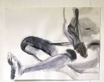 vintage original watercolor - nude male painting - black white gray