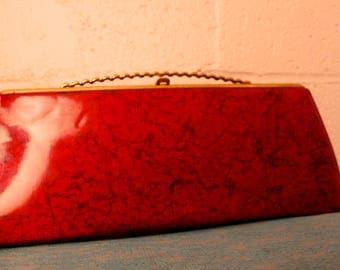Vintage 1950's Red Vinyl Long Clutch Purse Gaymode