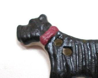 """Ceramic Scottie DOG Button, Handmade Scottish terrier with red collar, 1.25"""""""