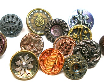 Antique BUTTONS, 13 Victorian metal shabby chic picture buttons, brass, pewter & cut steel.