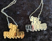 Mirrored Bi-Furious Silver or Gold Queer Shiny Statement Necklace
