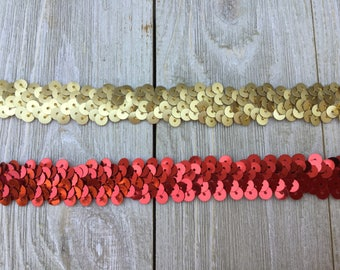 New-Stretch SEQUIN Trim-RED or GOLD 3/4 inch-2 yards for 2.99