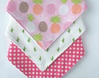 Pineapple Bib Gift Set - Bandana Bib Set - Bib - Baby Bandana Bib Set - Bib Set - Cactus Bib - Polka Dots Bandana Bib - Baby Girl Bibs