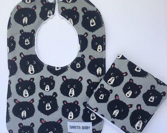 Baby Shower Gift Set - Baby Bib - Baby Washcloth - Bears Bib - Bear Washcloth -Gift for Baby - Woodland Baby Bib - Woodland Baby Gift