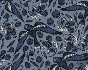 Sailor Ink Blue - S S Bluebird - Cotton + Steel - Quilters Cotton Available in Yards, Half Yards, Fat Quarters C5095-001