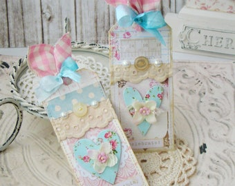 Celebrate Shabby Chic Handmade Tag set, Tags, Gift Tags, Shabby Tags, Tags, Scrapbook, Card making, Handmade tags, Gifts