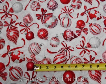 Holiday Flourish Red Silver Metallic Decorations BY YARD Robert Kaufman Fabric