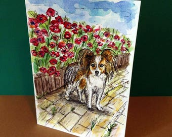 Papillon with Red Flowers, Hand Painted Cards, Dog Card, Dog Art, Dog Paintng, Original Watercolor, 5X7 inch, Dog Portrait, Dog Lover Gifts