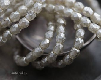 SILVERED BITS .. NEW 50 Premium Faceted Czech Glass Beads 3mm (6015-st)