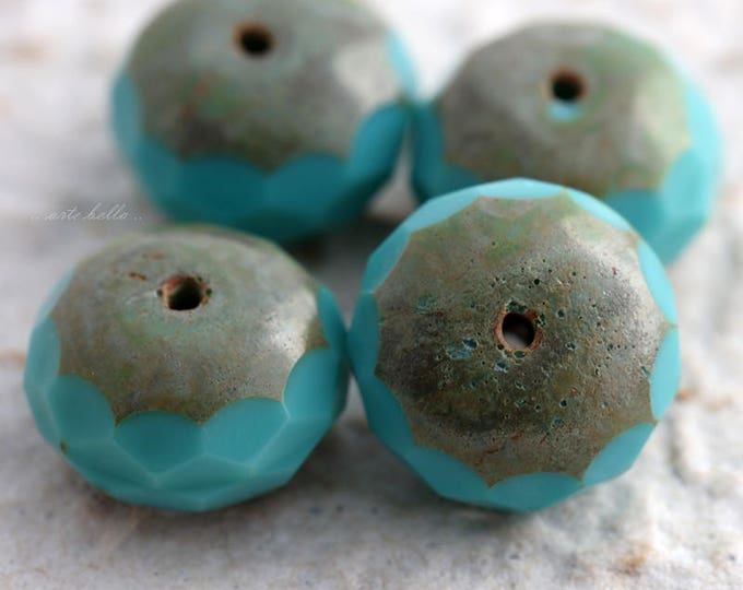 TURQUOISE JUMBOS .. NEW 4 Picasso Czech Chunky Glass Beads 10x17mm (5826-4)