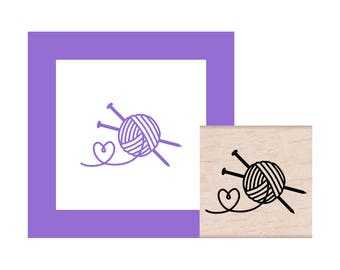 Knitting Love Rubber Stamp