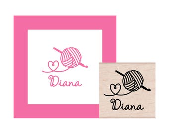 Crochet with Love Personalized Rubber Stamp