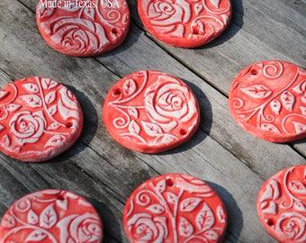 Handmade Pottery Ceramic Bead perfect for earrings
