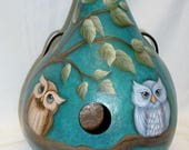 Custom Order for Cathie - Owl Gourd Birdhouse