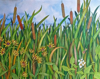 Cattails, Susans, and Arrowroot an original watercolor