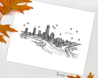 Austin, Texas - United States - Instant Download Printable Art - City Skyline Series