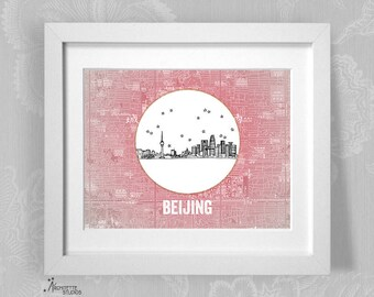 Beijing, China (Rouge) - Asia/Pacific - Instant Download Printable Art - Vintage City Skyline Map Series