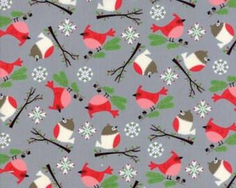 MODA Jingle Birds Bird Friends Grey Gray 33251 15 Keiki