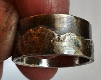 Mountain range sterling silver wedding ring, mens band, ladies band, unisex band, nature lover, rustic,  organic ring