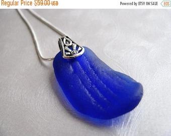 SEA GLASS SALE Reversible Sea Glass Pendant - Cobalt Blue - Beach Glass Pendant - Beach Glass Jewelry - Ocean Jewelry Gift