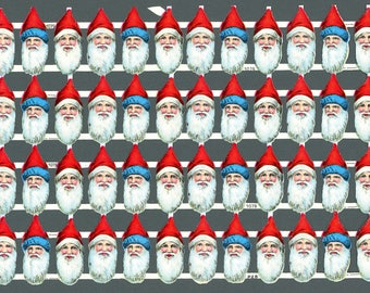 "Vintage Scrap Belsnickle Santa Heads PZB Germany #1079 Sheet of 48 Pieces 1 3/4"" 21055"