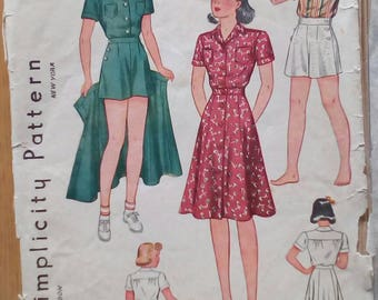 """Late 2930s / 1940s 3-piece Playsuit - 28"""" Chest - Simplicity 3290 - Vintage Sewing Pattern"""