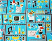 Little scientist print by push pin kokka Japanese fabric half meter 19.6 by 42 inches nc24