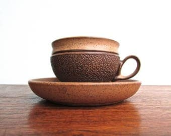 Glyn Colledge Designed Denby Pottery of England Cotswold Brown Cup & Saucer Vintage Stoneware, 1970s